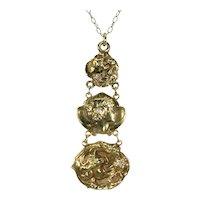 Art Nouveau Diamond Gold Pendant Fitted Box