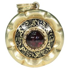 Early Victorian Garnet Enamel Memorial Locket Pendant