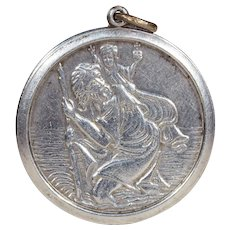 Vintage St. Christopher Silver Round Pendant