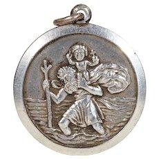 St. Christopher Sterling Silver Round Pendant by Georg Jensen Ltd