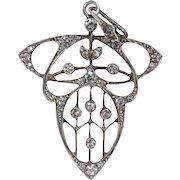 Antique Art Nouveau Paste Silver Pendant