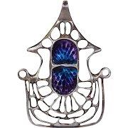 Wonderful Vintage David Andersen Enamel Silver Pendant