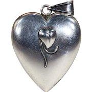 Vintage Mid Century Puffy Heart Pendant by Bernard Hertz