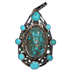 Antique Austro-Hungarian Turquoise Silver Pendant Enameled