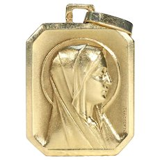 Antique French 18k Gold Virgin Mary Pendant
