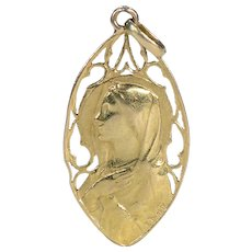 Antique French Gold Mary Pendant by E. Dropsy