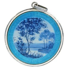 Antique French Enamel Silver Pendant Blue Landscape