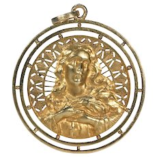 Antique Large French Pendant 18k Gold Female Form