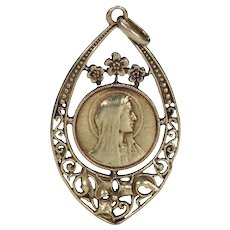 Antique French Gold Virgin Mary Pendant Floral