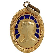 Antique Enameled Virgin Mary Pendant French 18k Gold