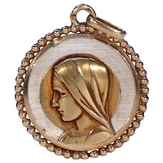 Antique French Mother of Pearl Gold Virgin Mary Pendant