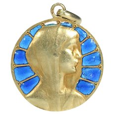 Vintage Plique a Jour Enamel Virgin Mary Pendant 18k Gold French