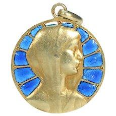 Vintage Plique a Jour Enamel Virgin Mary Pendant 18k Gold French