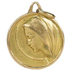 Antique French Gold Virgin Mary Pendant