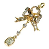 Antique Old European Diamond Bow Pendant 18k Gold