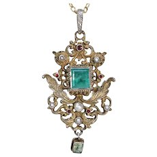 Antique Austro-Hungarian Emerald Pendant with Pearls and Rubies
