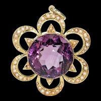 Antique Victorian Amethyst Pearl Pendant 15k Gold