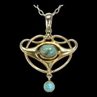 Antique Art Nouveau Turquoise Gold Pendant
