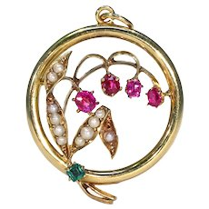 Antique Edwardian 9K Gold Emerald Pendant with Rubies and Pearls