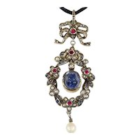 Antique Sapphire, Pearl and Ruby Pendant in Silver Gilt