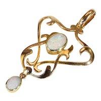 Antique Art Nouveau Opal and Gold Pendant Necklace in 15k Gold