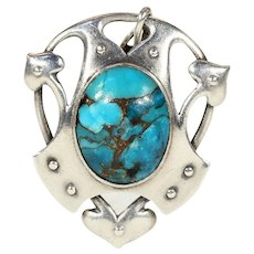 Antique Murrle, Bennett & Co. Silver Pendant with Cabochon Turquoise Gem, Arts & Crafts