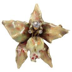 Antique Diamond Set Enameled Orchid Pendant