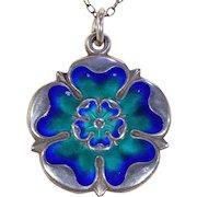 Edwardian Enamel Silver Tudor Rose Pendant Necklace