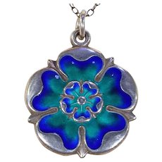 Edwardian Enamel Silver Tudor Rose Pendant Necklace