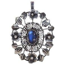 Scandinavian Arts & Crafts Silver Moonstone Pendant