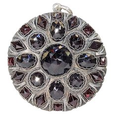 Large Victorian Garnet Silver Pendant