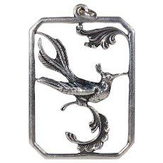 Vintage Silver Danish Bird of Paradise Pendant