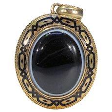 Victorian Banded Agate Gold Enamel Pendant