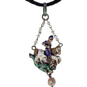Austro-Hungarian George and the Dragon Pendant Silver Peal Enamel