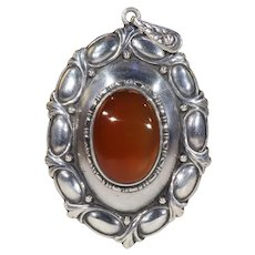 Antique Silver Jugenstil Carnelian Oval Pendant
