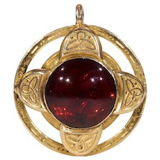 Antique Victorian Locket Backed Gold Garnet Pendant