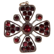 Georgian Gold Garnet Pendant