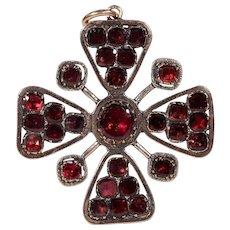 Georgian Gold Garnet Pendant