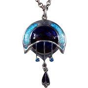 Arts & Crafts Silver Enamel Pendant by James Fenton