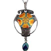 Arts & Crafts Silver Enamel Pendant by Murrle Bennett & Co.