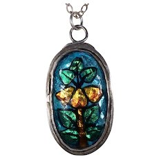 Vintage Arts & Crafts Silver Enamel Pendant Pear Tree