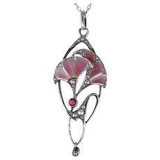 Jugendstil Plique A Jour Herman & Speck Silver Pendant Necklace Purple