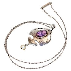 Arts & Crafts Silver Amethyst Pearl Necklace by Murrle Bennett & Co.
