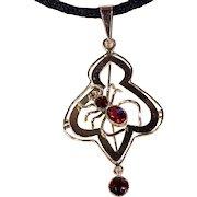 Victorian Spider Gold Garnet Pendant