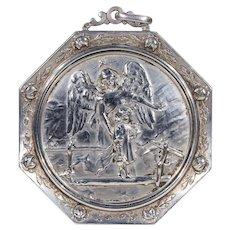 Antique Large Silver Repousse Pendant Ornament Angel Child