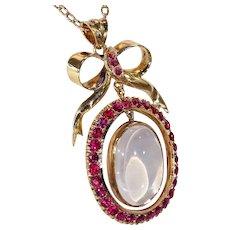 Edwardian Ruby Large Moonstone Gold Pendant