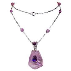 Stunning Arts & Crafts Amethyst Silver Necklace