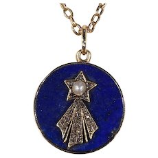 Victorian Halley's Comet Pendant Necklace Locket Backed DIamond Pearl Lapis