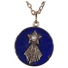 Victorian Halley's Comet Pendant Necklace Locket Backed DIamond Pearl Lapis