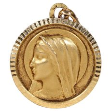 Vintage Madonna St. Mary Pendant French 18k Gold
